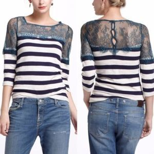 Anthro Deletta Lace and Lines Pullover Tee Sz M